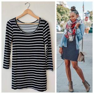 Lush 🌈 B&W Striped Knit Long Sleeve Mini Dress